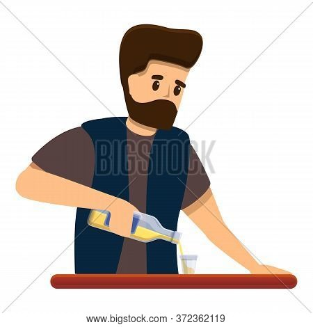 Hipster Bartender Icon. Cartoon Of Hipster Bartender Vector Icon For Web Design Isolated On White Ba