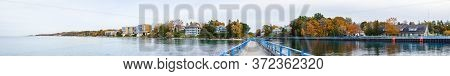 Charlevoix, Michigan, Usa, The Coastline Of Lake Michigan As Seen From The Pier, During Autumn