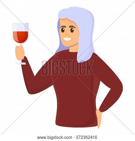 Red Wine Sommelier Icon. Cartoon Of Red Wine Sommelier Vector Icon For Web Design Isolated On White