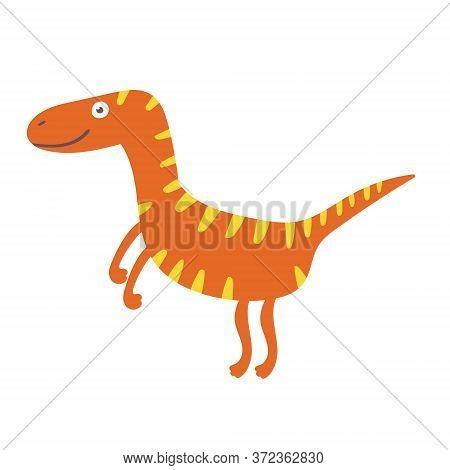 Cute Dinosaur Velociraptor. Dinosaur Vector Design Character