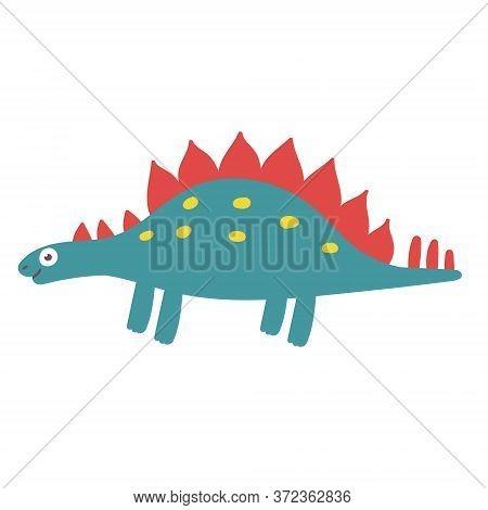 Cute Stegosaurus Dinosaur. Dinosaur Vector Design Character