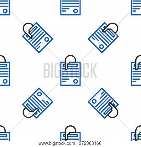 Line File Document And Paper Clip Icon Isolated Seamless Pattern On White Background. Checklist Icon