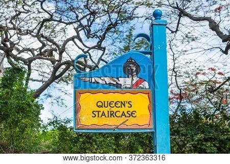 Nassau, Bahamas - May 3, 2019: The Queen's Staircase Sign. The Queen's Staircase, Commonly Referred