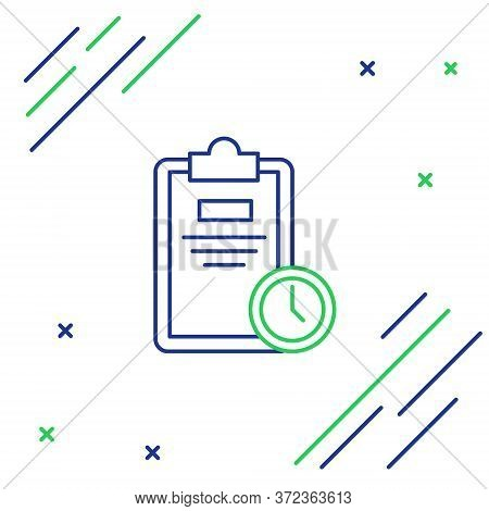 Line Exam Sheet With Clock Icon Isolated On White Background. Test Paper, Exam, Or Survey Concept. S