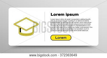 Line Graduation Cap Icon Isolated On White Background. Graduation Hat With Tassel Icon. Colorful Out