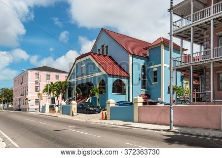 Nassau, Bahamas - May 3, 2019: Street View Of Nassau At Day With Zion Baptist Chuch On The Shirley S