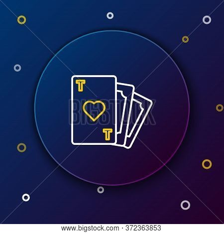 Line Playing Card With Heart Symbol Icon Isolated On Blue Background. Casino Gambling. Colorful Outl