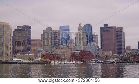 Skyline Of Boston - View From Boston Harbor - Boston. Usa - April 5, 2017
