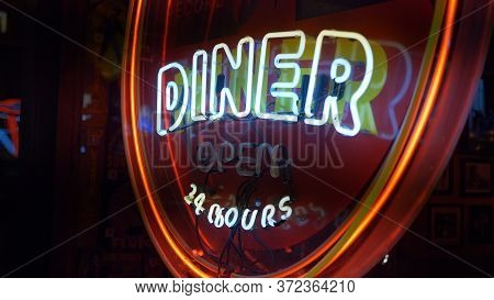 Neon Sign Diner 24 Hours At Nashville Broadway - Nashville, Usa - June 17, 2019