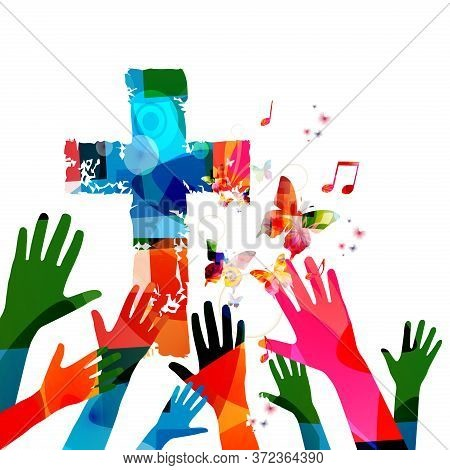 Colorful Christian Cross With Music Notes And Hands Isolated Vector Illustration. Religion Themed Ba