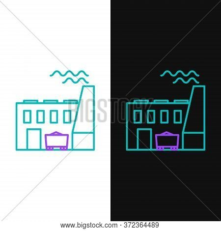 Line Coal Power Plant And Factory Icon Isolated On White And Black Background. Energy Industrial Con