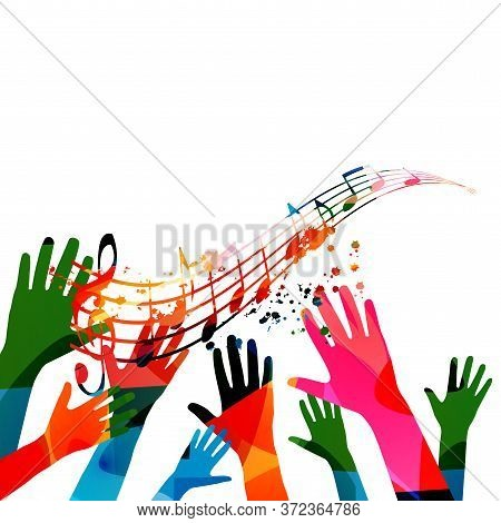 Music Background With Colorful G-clef, Music Notes And Hands Vector Illustration Design. Artistic Mu