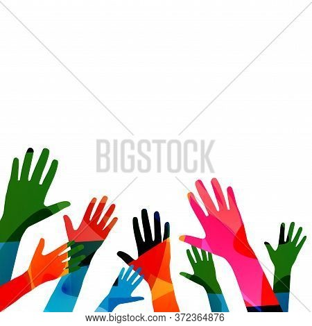 Colorful Human Hands Raised Isolated Vector Illustration. Charity And Help, Volunteerism, Social Car