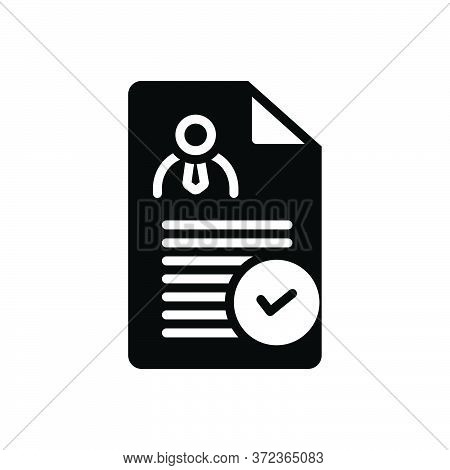 Black Solid Icon For Determining Check Approved Document