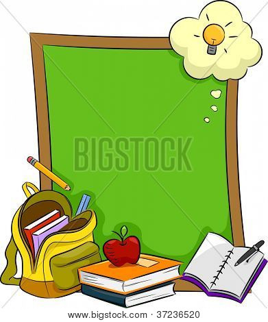 Illustration of Books, Stationery, and Other Educational Materials Lying in Front of a Blank Board