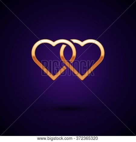 Gold Two Linked Hearts Icon Isolated On Dark Blue Background. Romantic Symbol Linked, Join, Passion