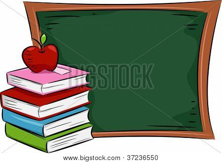 Illustration of an Apple Resting on a Pile of Books Placed Near a Blackboard
