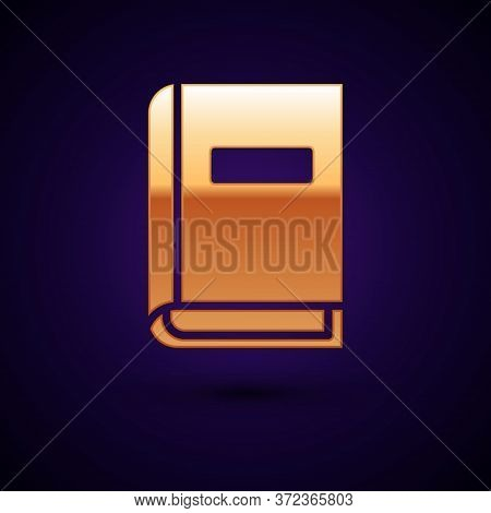 Gold User Manual Icon Isolated On Black Background. User Guide Book. Instruction Sign. Read Before U