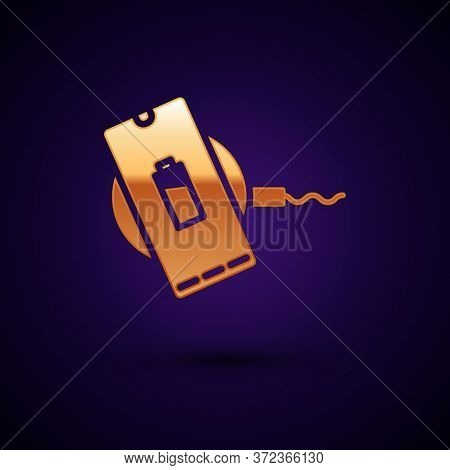 Gold Smartphone Charging On Wireless Charger Icon Isolated On Black Background. Charging Battery On
