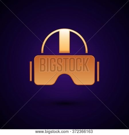 Gold Virtual Reality Glasses Icon Isolated On Black Background. Stereoscopic 3d Vr Mask. Vector Illu