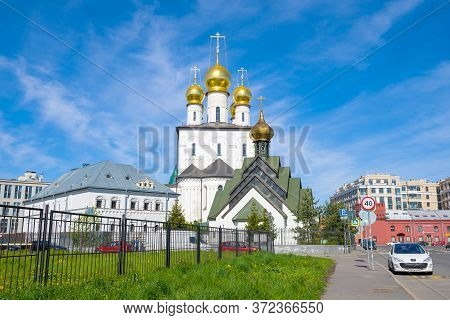 Saint Petersburg, Russia - May 24, 2020: View Of The New Martyr Church And Fedorovsky Cathedral On A