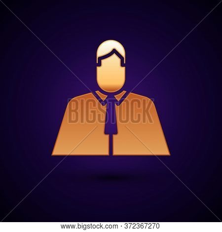 Gold Lawyer, Attorney, Jurist Icon Isolated On Black Background. Jurisprudence, Law Or Court Icon. V