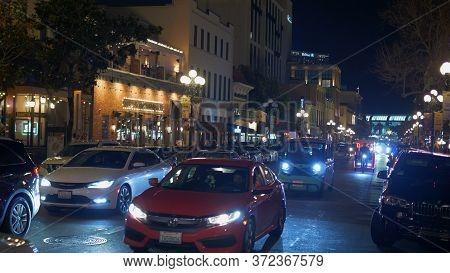 Historic Gaslamp Quarter San Diego By Night - San Diego, Usa - March 18, 2019