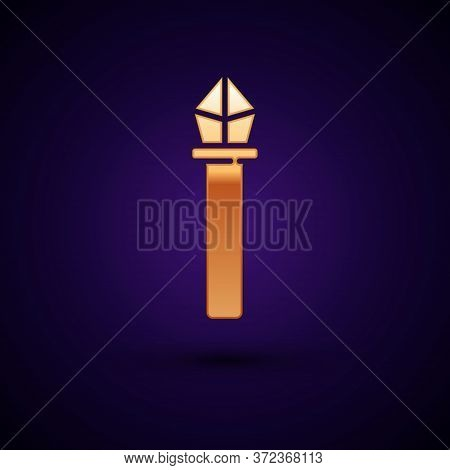 Gold Magic Staff Icon Isolated On Black Background. Magic Wand, Scepter, Stick, Rod. Vector Illustra