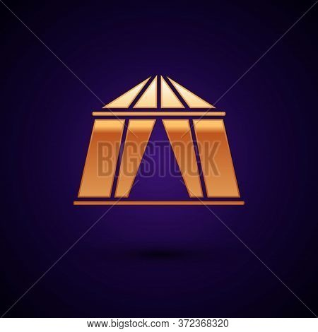 Gold Circus Tent Icon Isolated On Black Background. Carnival Camping Tent. Amusement Park. Vector Il