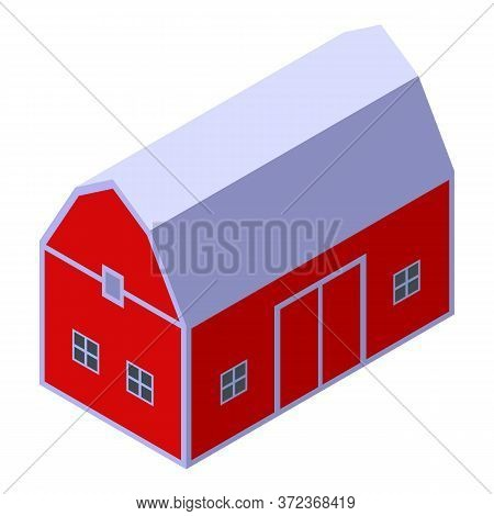 Farm Red Barn Icon. Isometric Of Farm Red Barn Vector Icon For Web Design Isolated On White Backgrou