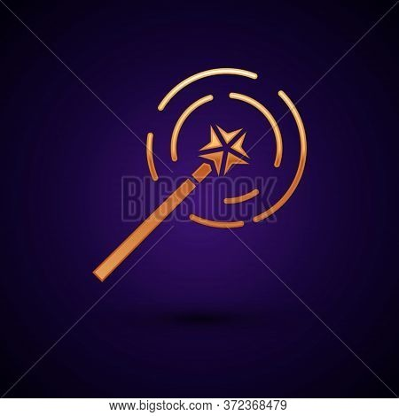 Gold Magic Wand Icon Isolated On Black Background. Star Shape Magic Accessory. Magical Power. Vector