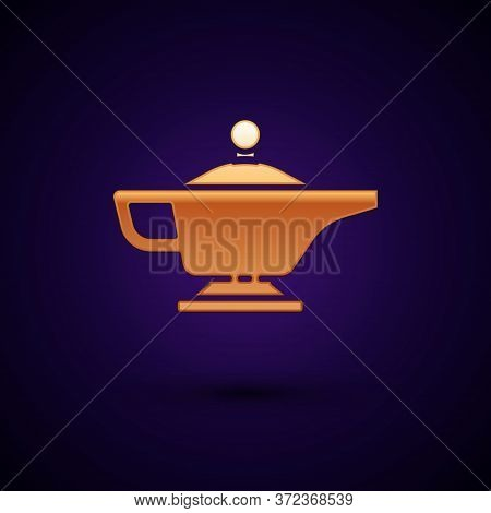 Gold Magic Lamp Or Aladdin Lamp Icon Isolated On Black Background. Spiritual Lamp For Wish. Vector I