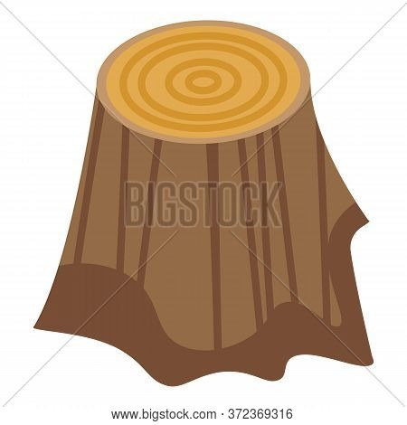 Home Tree Stump Icon. Isometric Of Home Tree Stump Vector Icon For Web Design Isolated On White Back