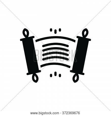 Black Solid Icon For Edict Ordinance Rescript Scroll Royal-edict