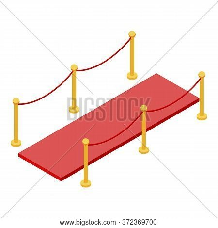 Vip Red Carpet Barrier Icon. Isometric Of Vip Red Carpet Barrier Vector Icon For Web Design Isolated