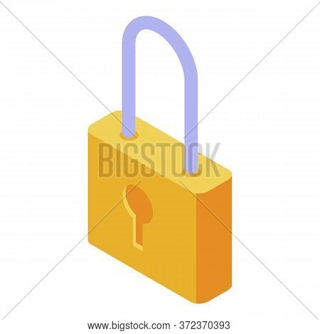 Gold Padlock Icon. Isometric Of Gold Padlock Vector Icon For Web Design Isolated On White Background