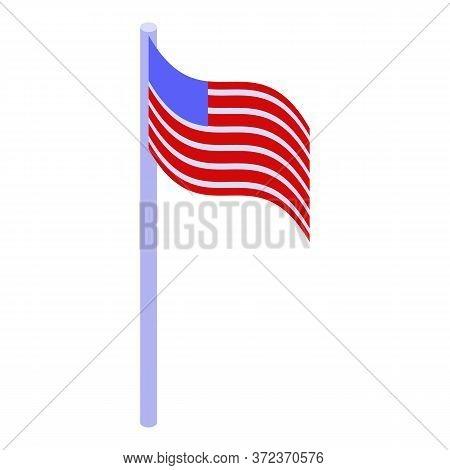 Astronaut American Flag Icon. Isometric Of Astronaut American Flag Vector Icon For Web Design Isolat