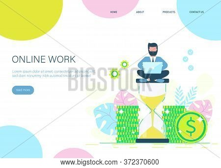 A businessman sits on an hourglass and earns money. businessman earning money. Business concept. Business people. Business background. Infographic business arrow shape template design. Business background, business concept. business banner. Building to su