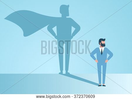 superheroю Confident handsome young businessman standing superhero shadow concept illustration. superhero businessman dreams of becoming a superhero