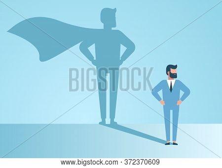 superheroю Confident handsome young businessman standing superhero shadow concept illustration. superhero businessman dreams of becoming a superhero
