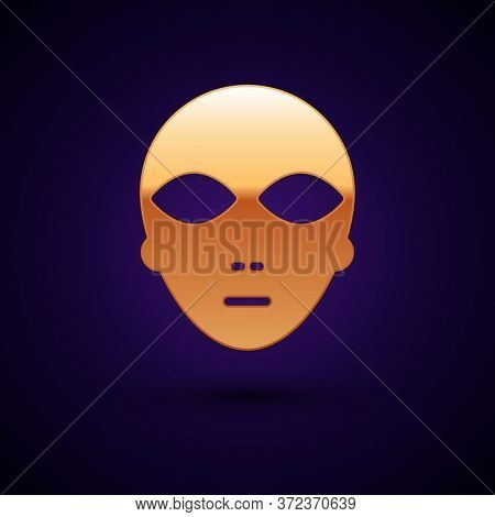 Gold Alien Icon Isolated On Black Background. Extraterrestrial Alien Face Or Head Symbol. Vector Ill