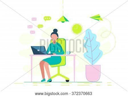 A young woman is working diligently with a laptop. Vector business illustration. Programmer works at the computer. Remote work in the home office. IT specialist freelancer. Business concept. Business people. Business background. Infographic business arrow