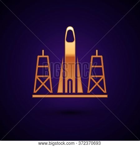 Gold Rocket Launch From The Spaceport Icon Isolated On Black Background. Launch Rocket In Space. Vec
