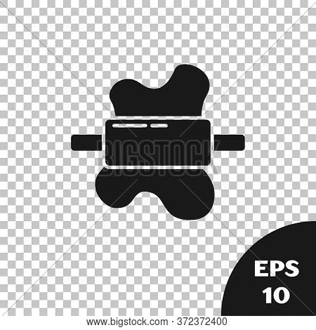 Black Rolling Pin On Dough Icon Isolated On Transparent Background. Vector
