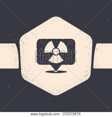 Grunge Radioactive In Location Icon Isolated On Grey Background. Radioactive Toxic Symbol. Radiation