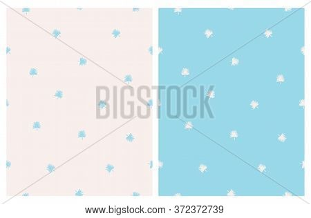 Abstract Palm Leaves Seamless Vector Pattern. Pastel Blue And Beige Tropical Minimalist Design. Aloh