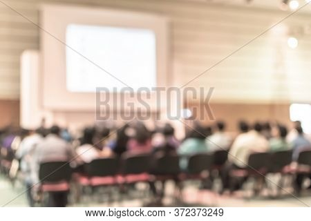 Seminar Conference Or Town Hall Meeting Blur Background In Auditorium Or Hotel Room With Audiences,