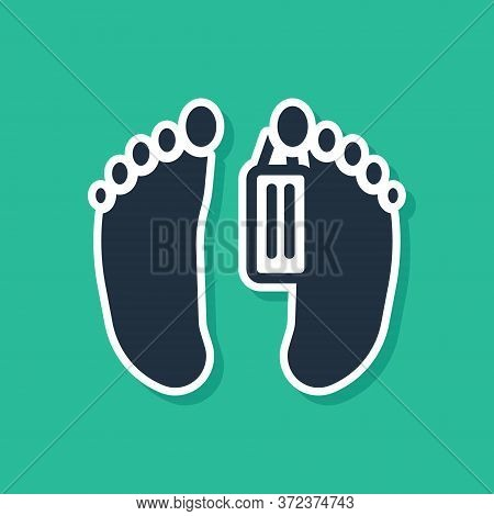 Blue Dead Body With An Identity Tag Attached In The Feet In A Morgue Of A Hospital Icon Isolated On