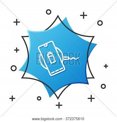 White Line Smartphone Charging On Wireless Charger Icon Isolated On White Background. Charging Batte