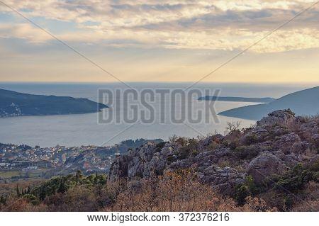 Twilight. Calm Winter Evening In Mediterranean.  Montenegro, View Of  Adriatic Sea And Coastline Of